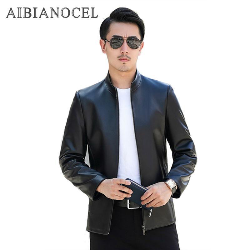 AIBIANOCEL 2017 Yepyeni Günlük Stil Kış Erkek Gerçek Deri Ceket Koyun postu Gerçek Deri Ceket Siyah Erkek Ceket