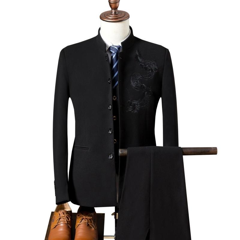 Costume de style chinois pour hommes Blazers 3 pièces (manteau + veste + pantalon) broderie haut de gamme costumes de banquet de mariage col montant