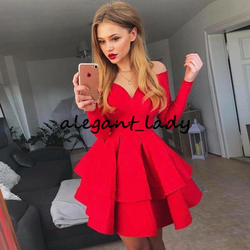 Red Sheer cuello Una línea Vestidos de casero con manga larga Ruffles Falda escalonada Satin Vestido de fiesta Mini vestidos de cóctel