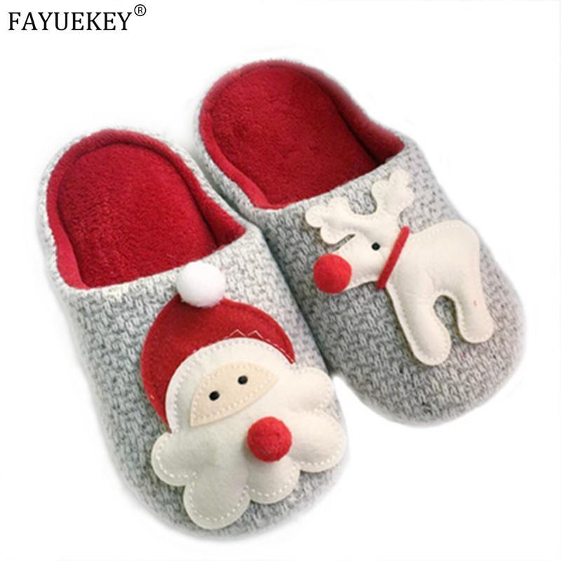 Женщина зимы Тапочки плюша Теплый Хлопок Главная мужчин Тапочки Рождество Санта Клаус Elk Крытый обувь Женская обувь мужчины покрытие Женщины