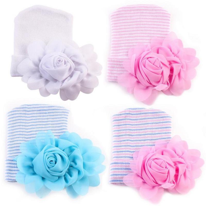 100pcs Crochet Cute Newborn Cap Baby Girl Comfy Bowknot Cap Striped Hat Toddler 0-6M