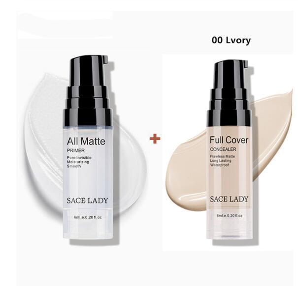 SACE SENHORA compo o jogo 6 ml Primer Base de dados de cobertura total líquido Matte Concealer Face Maquiagem Corrector impermeável Marca até Base Cosmetic