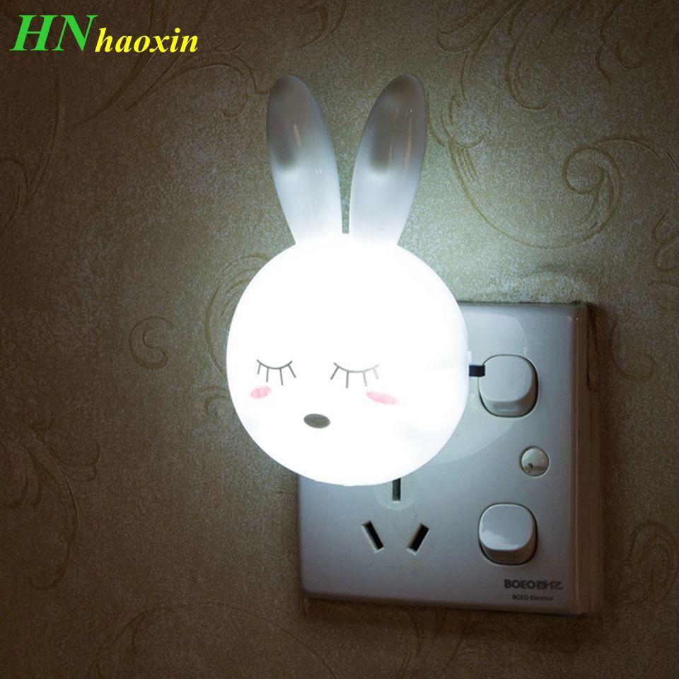 HaoXin Cartoon Rabbit LED Night Light AC110-220V Interruttore Lampada da parete a parete con spina USA Regali per lampada da comodino per camera da letto per bambini / neonati / bambini