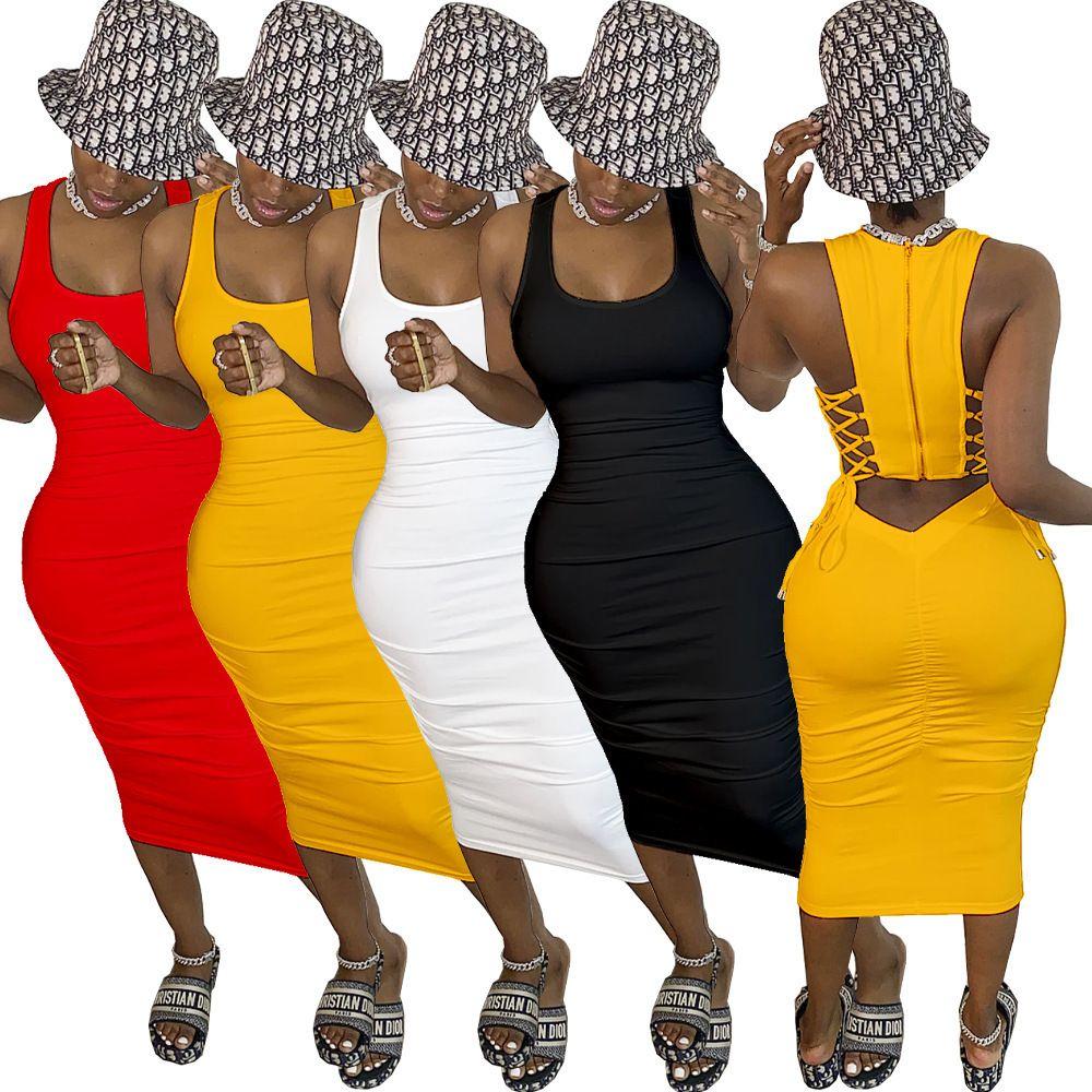 Vestido plisado atractivo de las mujeres con la parte posterior y la cremallera Falda tubo delgado de la manera apretada color sólido alto estiramiento vestido 807