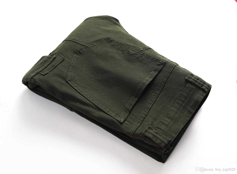 Jeans Biker di alta qualità Strappato Designer Hole Stone lavato Slim Fit moto dritto denim pantaloni per uomo 28-40