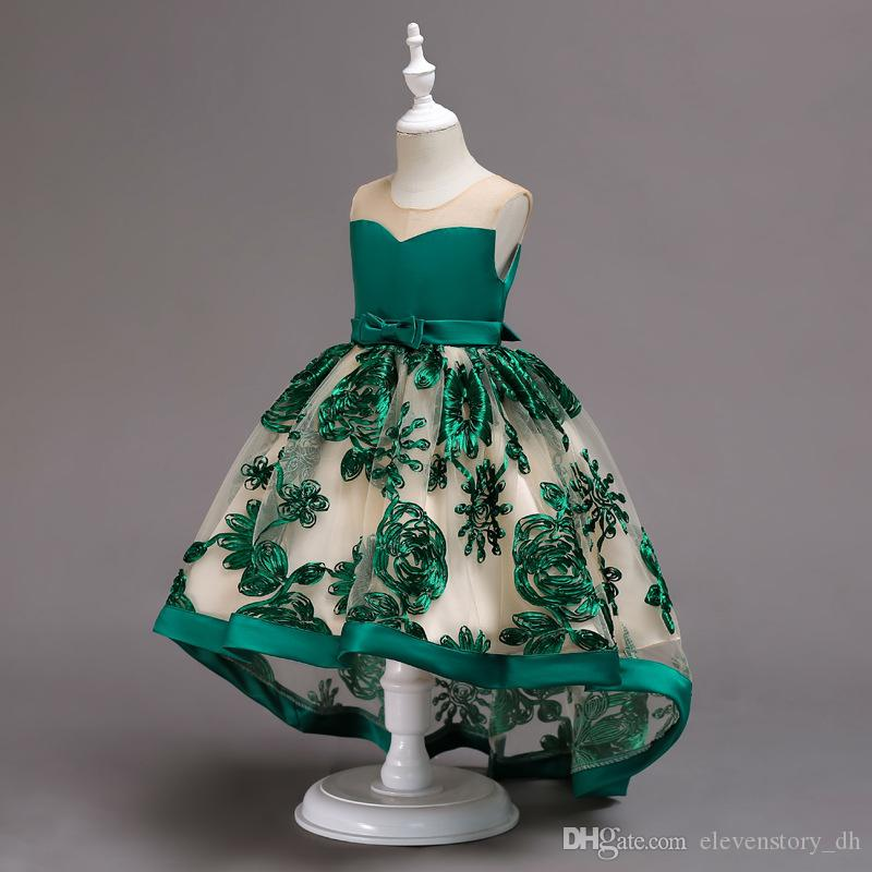 2 to 10 years Girls embroidered bow dresses, summer holiday party Asymmetrical tutu dress, kids & teenager boutique clothing, R1AA806DS-47