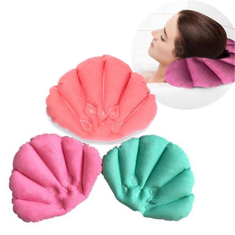 New banheiro Produtos Home Spa inflável Bath Pillow Cups Shell Shaped Neck Banheira Almofada cor aleatória acessórios do banheiro