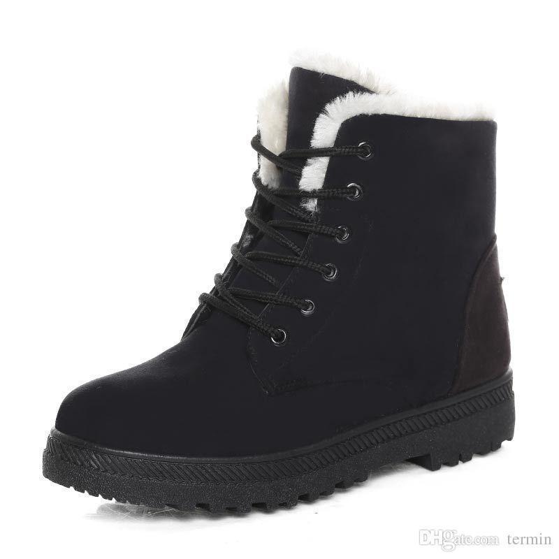 Charm2019 Women Winter Boots Women Winter Shoes Flat Heel Ankle Casual Cute Warm Shoes Pop Snow Boots Women's Boots Item No. XDX-012