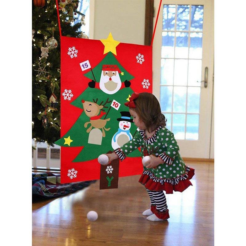 Noël Jeux avec Toss 3Pcs Snowballs Bricolage Felt Arbre de Noël Nouvel An Cadeaux Enfants Throw Jouets Décoration pour la maison