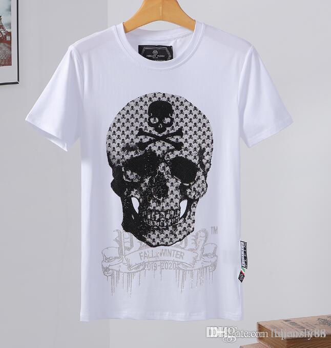 Camiseta de manga corta de la impresión del cráneo camiseta de algodón cuello redondo camiseta delgada moda jersey G100 parte superior del monopatín de los hombres de los nuevos hombres
