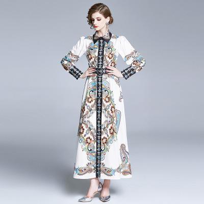 Celebrites Sliming veste il vestito da stampa d'epoca di donne risvolto collo manica lunga Casual Wear primavera e l'autunno