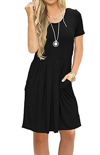 Women's Short Sleeve Loose Swing Casual T Shirt Dress with Pockets Pleated Knee Length Dress