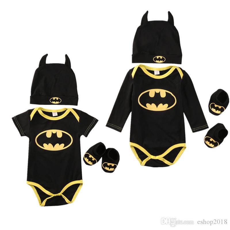 Newborn Baby Boy Girl Clothes Batman Rompers+Shoes+Hat Costumes 3Pcs Outfits Set