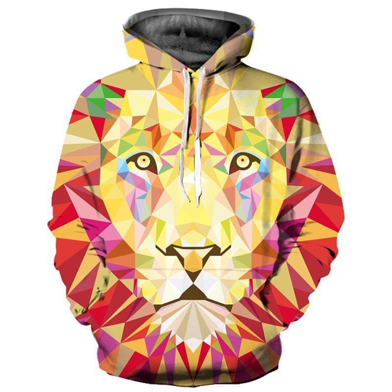 Fashion 3d Hoodies Women/Men 3d Sweatshirts Print Colorful Rhombus Blocks Lion Thin Hooded Hoodies WY016