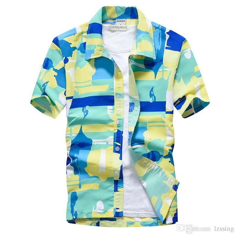 Yaz Kısa Kollu Erkekler Hawaii Gömlek Moda Kısın Yaka Rahat Plaj Gömlek Erkekler Marka Slim Fit Erkek Aloha Gömlek 5XL