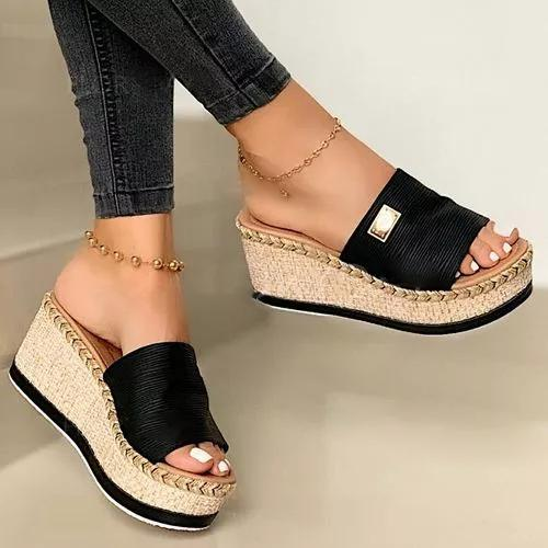 Puimentiua cuñas de la plataforma mujeres de los deslizadores de las sandalias 2020 nuevos zapatos femeninos de moda los zapatos de tacón Casual boca de los pescados Zapatillas Mujeres