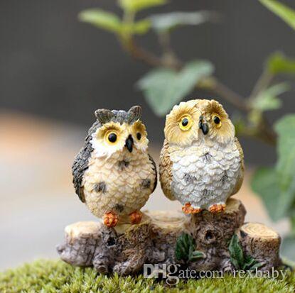 Paisagem coruja boneca resina fada casa jardim diy decoração micro ornamentos decoração