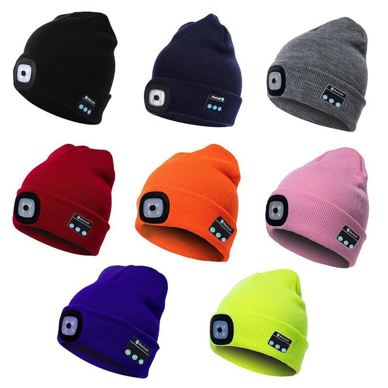 Bluetooth Blue Knitted Hat With Led Light Cap, Led Outdoor Climbing Hat Rechargeable Warm Beanie Knitting Hiking Cap