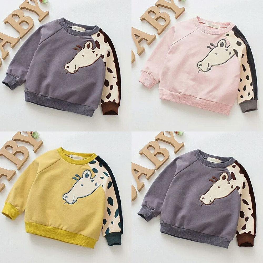 Yepyeni Pamuk Kız Erkek Casual En Hoodie Kazak tişört Güzel Çocuk Sevimli Zürafa Tops