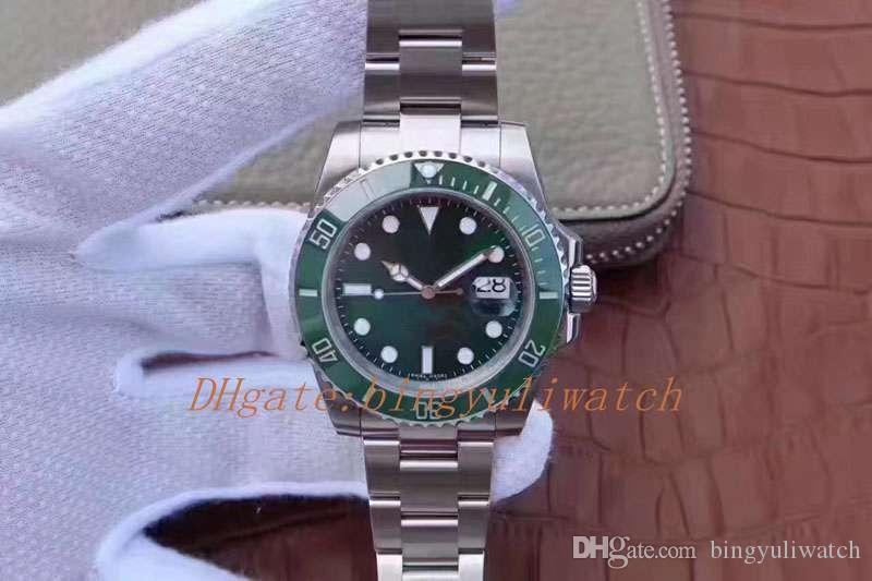 2 Cor Super Movimento N Fábrica V8 116.610 116610LV 116610LN 40MM automática Cla.3135 Preto verdes cerâmicos Bezel Relógios de pulso Mens Relógios