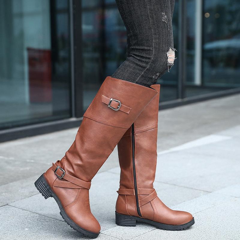 뜨거운 판매-겨울 따뜻한 모피 무릎 높은 부츠 여자 스노우 부츠 하이힐 사이드 지퍼 여성 신발 블랙 브라운 그린 큰 크기
