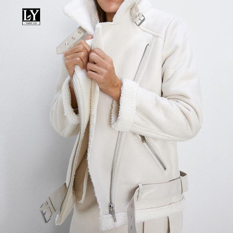 Ly Varey Lin Kış Sahte Kuzu Deri Ceket Kadınlar Sahte Deri Kuzular Yün Kürk Yaka Pu Moto Fermuar Ceket Sıcak Kalın Dış Giyim LY191210