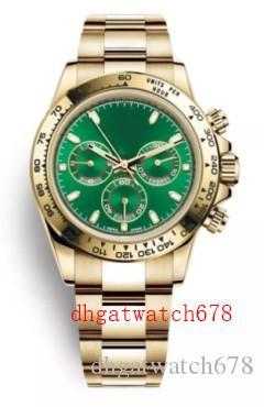 hommes de luxe de haute qualité et de haute qualité 40mm 116508 18K GoldGreen cadran Bezel Bracelet en acier inoxydable Montres Hommes Pas Chronograph