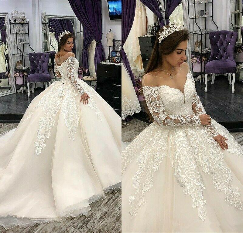 Linda princesa Lace apliques de renda bola vestidos de casamento Vestido de Sheer Neck manga comprida Vestidos de casamento Appliqued vestido nupcial Vestido de Novia