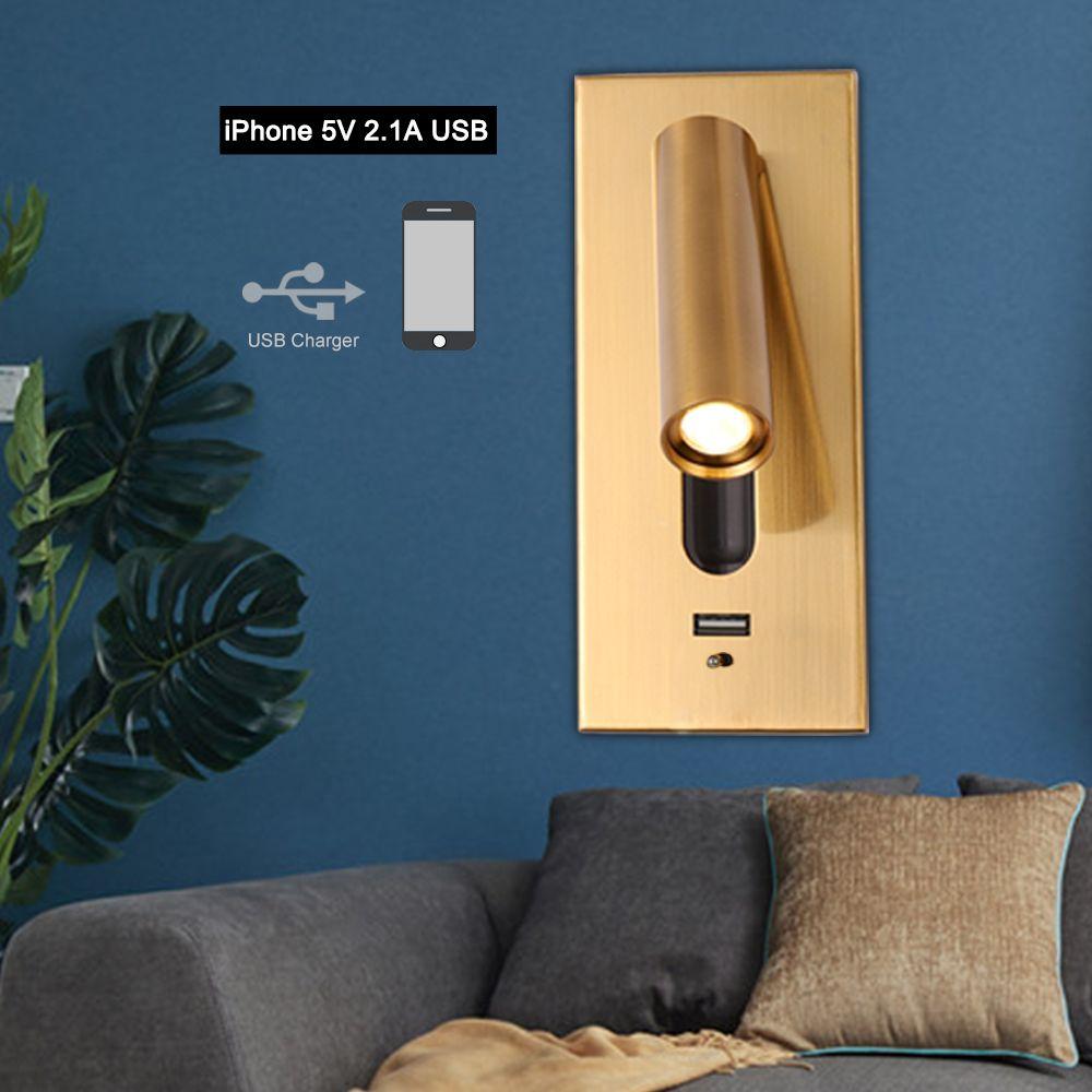 La pared del dormitorio de la lámpara con USB LED de interior doméstico luz de lectura de cabecera del sitio 3W Noche iluminación interior luz pared lámpara de pared USB Accesorios R53