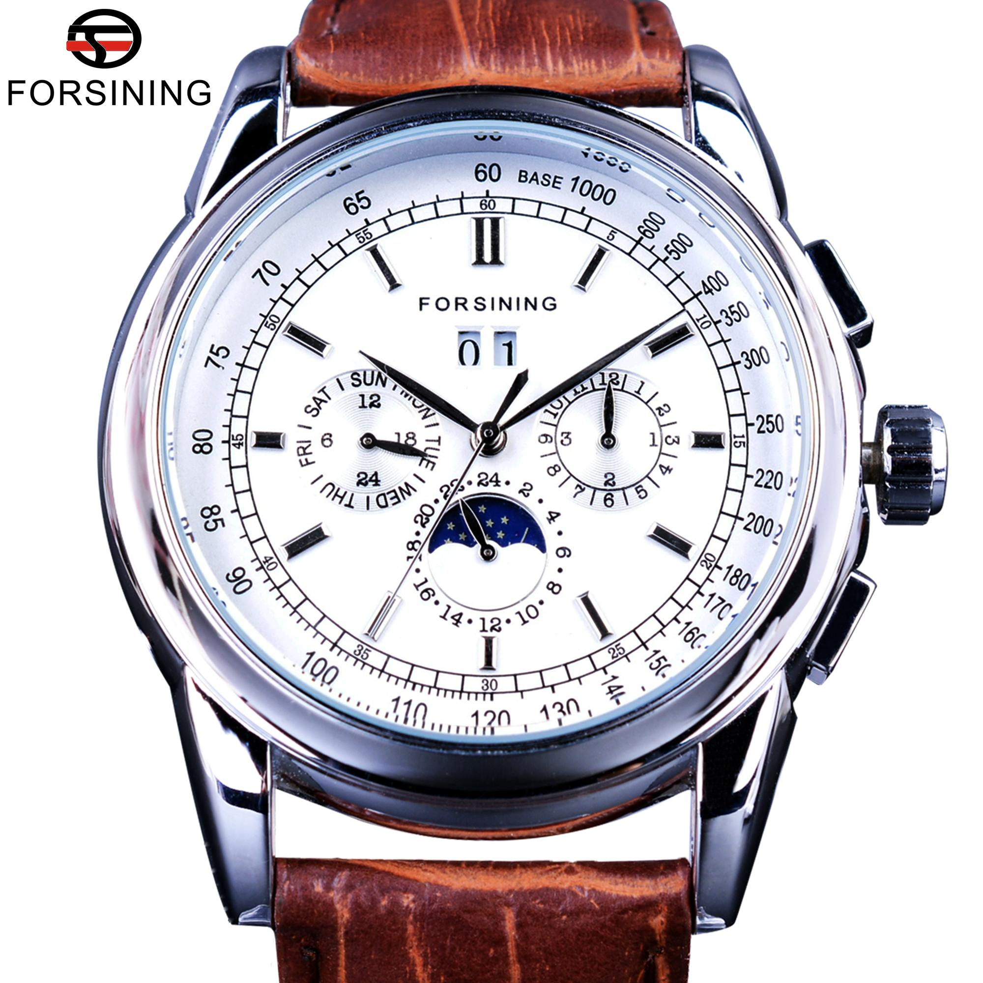 Fassing Moonphase Kalenderanzeige Brauner Leder Shanghai Automatische Bewegung Herrenuhren Top Marke Luxus Mechanische Uhren