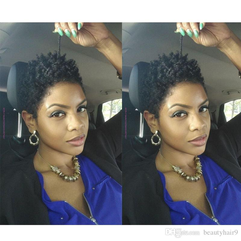 fashion beauty the new hairstyle black short kinky curly Wigs brazilian Hair Simulation Human Hair short curly wig for lady