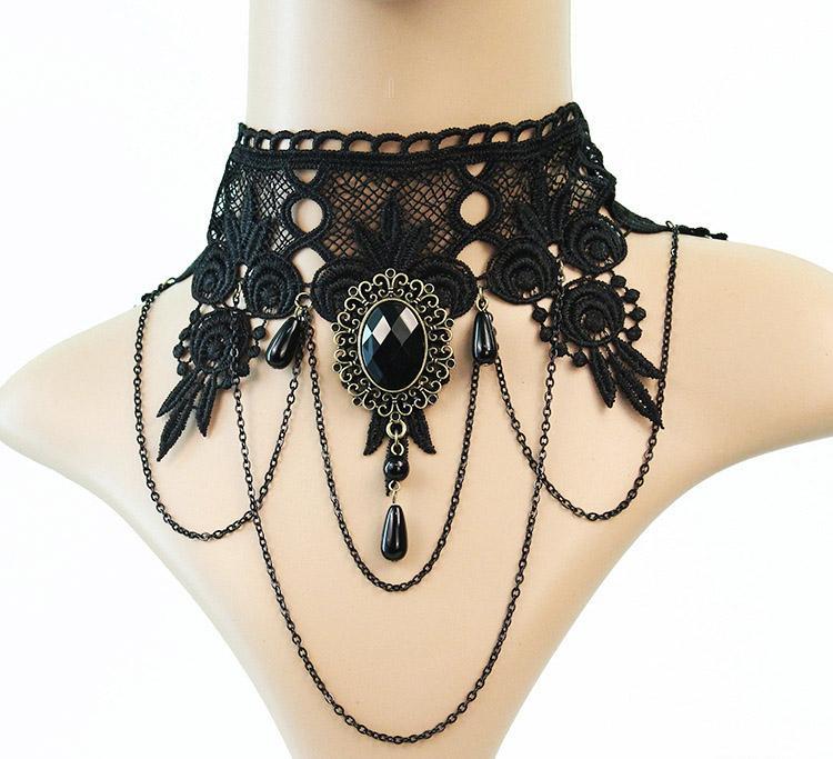 10 adet karışık kolye takı gotik stil punk moda vintage lace up choker kolye kolye olay parti için balo kadın lolita collar56