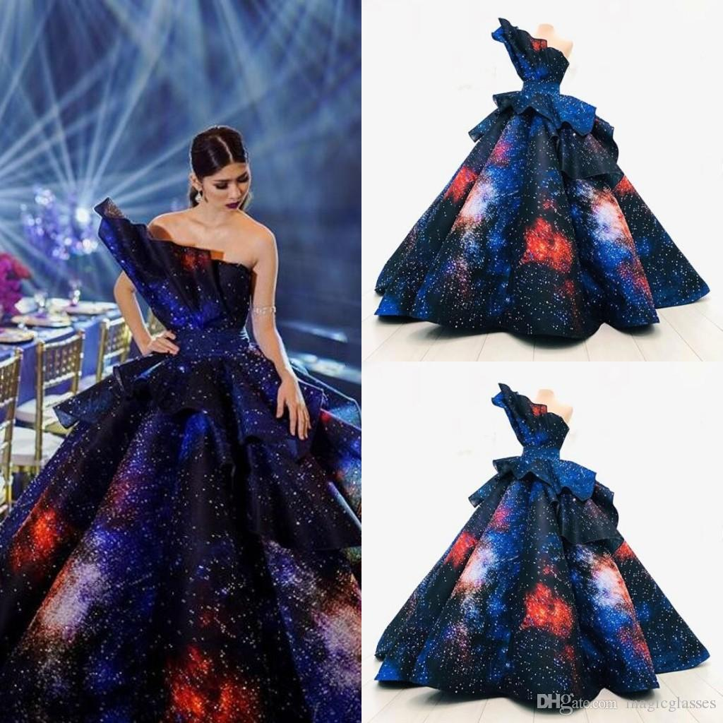 Luxury Floor Length Queen Evening Dresses Curve Shape Ball Gown Sparkly Colorful Prom Party Dresses Glitter Gas Field Dinner Dress