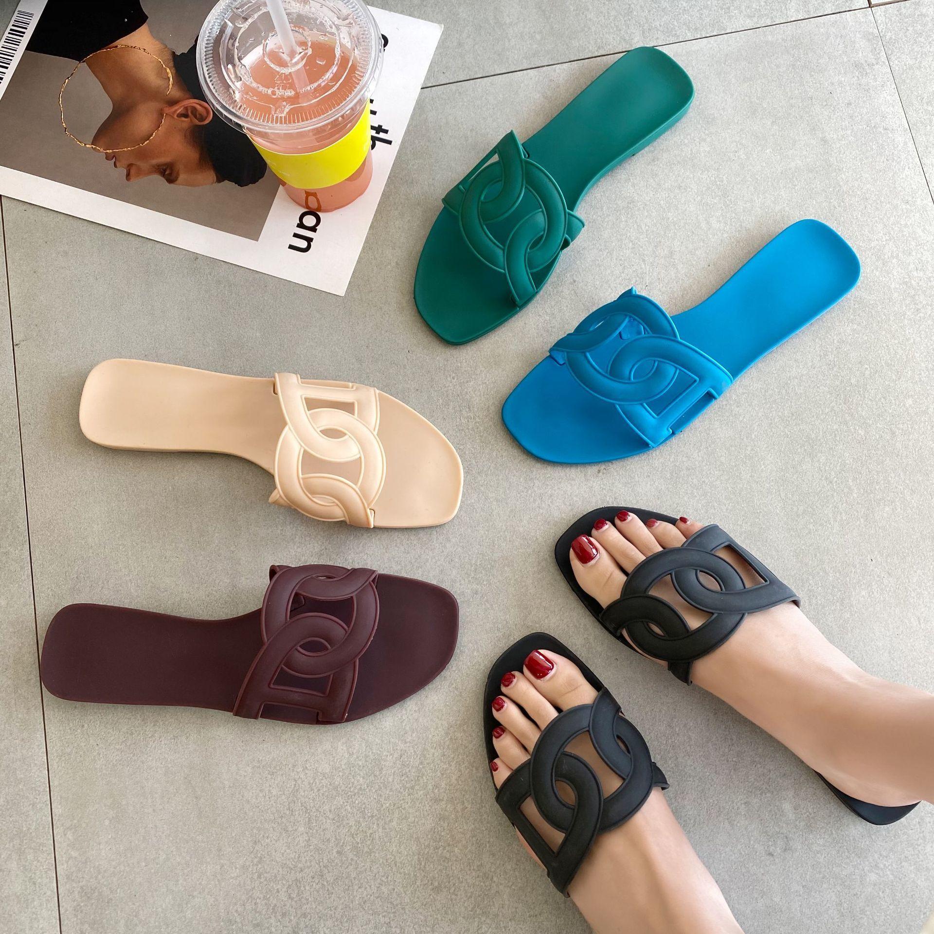 Mujeres usan zapatillas 2020 ins cerdo zapatillas de punta sandalias planas para mujer diapositivas de lujo chanclas sandalias