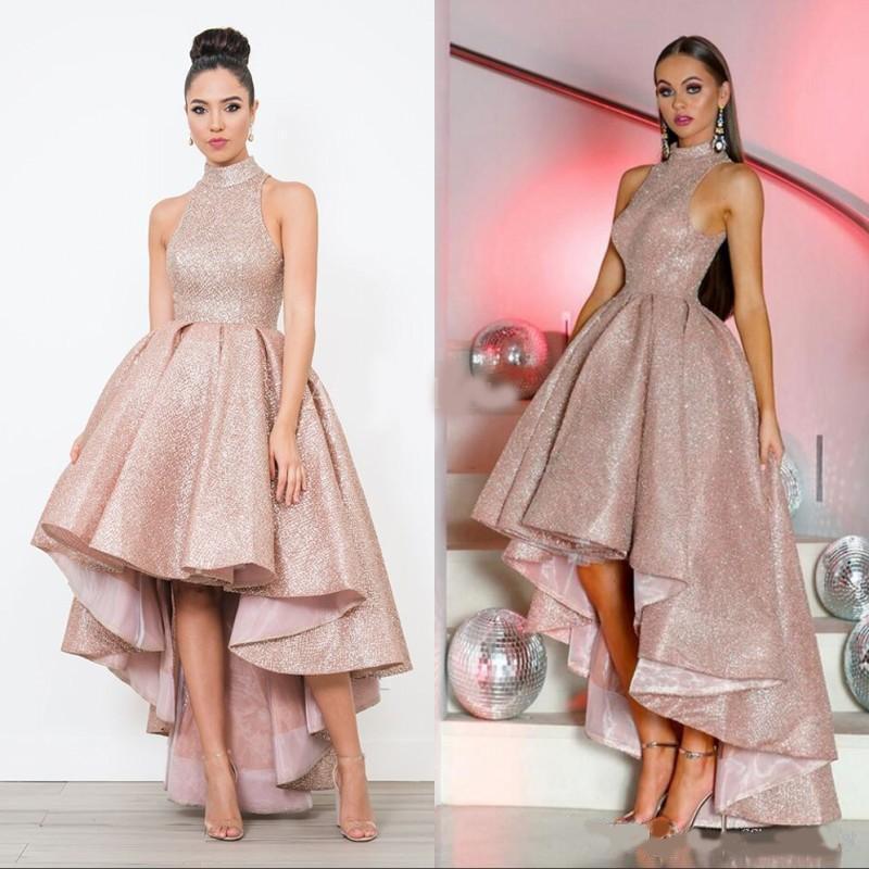 Shiny Hi-Lo Prom Dresses alto collo Backless Alto Basso increspature una linea convenzionale di sera del partito abiti Vestido de fiesta 2020 personalizzato