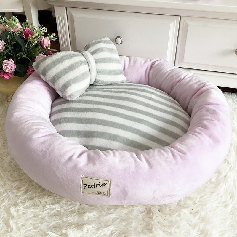 -Hundebett Mats Runde Welpen-Pads Winter warm samtweich Lounger Sofa für Kitten Puppy Katzentoilette Nest Kennel mit Kissen Supplies