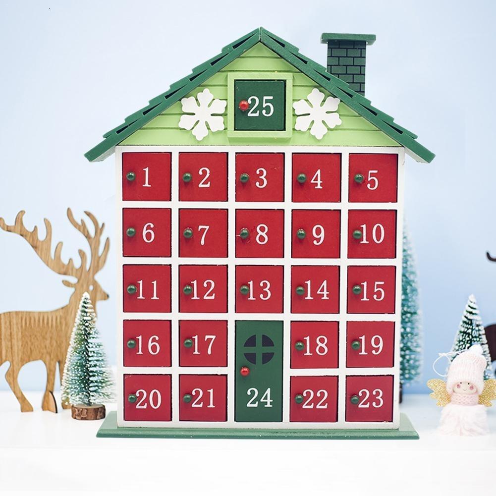 1pc Ahşap Lockscreen Takvim Saklama Kutusu Renk Cottage Advent Takvim Ana SH190920 Noel Süsleri