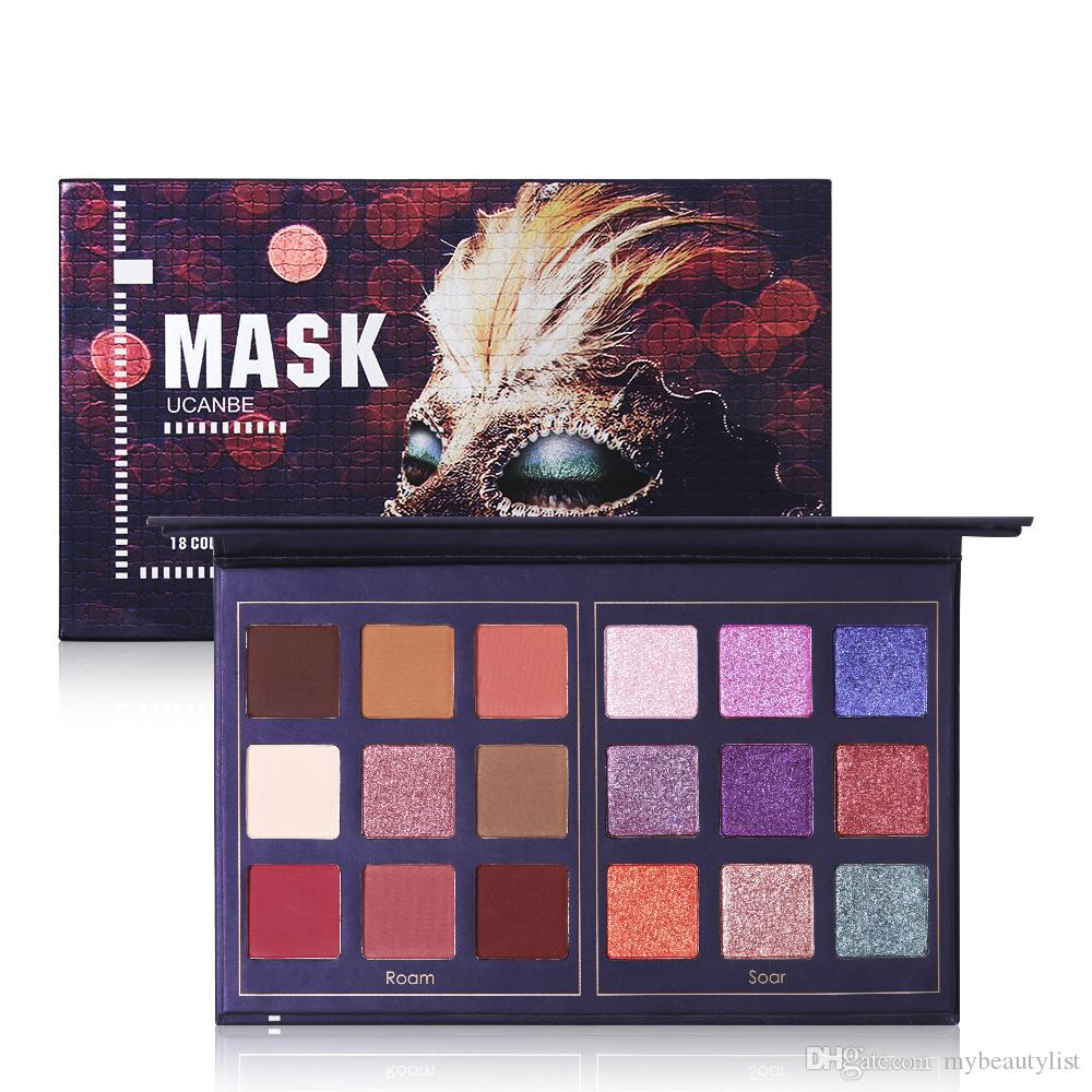 Hot sale Mask Eyeshadow palette 18 colors Matte shimmer Wine red Green eyeshadow Shining makeup Palette