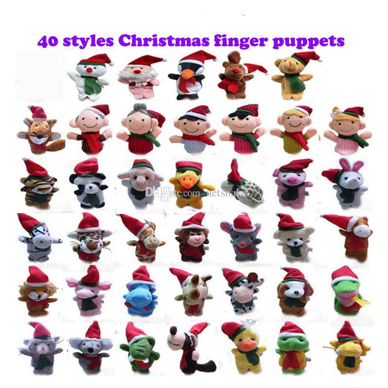 40 أساليب عيد الميلاد أصابع الدمى أفخم لعب سانتا كلوز دمى أحرف الحيوانات عيد الميلاد عيد الميلاد أصابع الأسرة مجموعات ر الأم والطفل