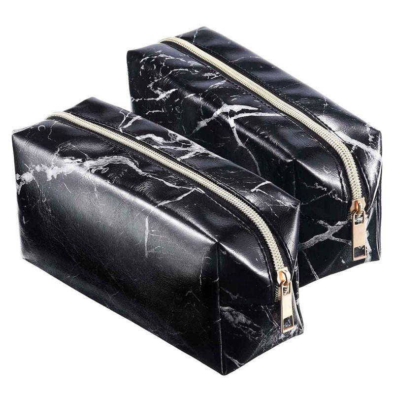 2 조각 화장품 화장실 메이크업 가방 파우치 골드 지퍼 스토리지 가방 대리석 패턴 휴대용 메이크업 브러쉬 (블랙)