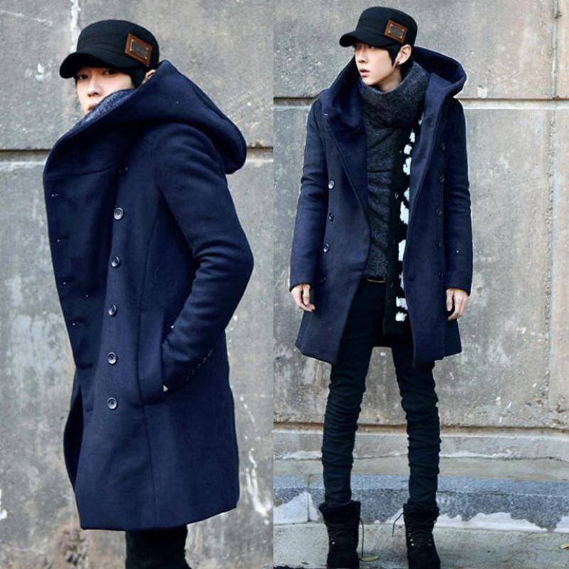 Pea Coat ZEESHANT manera barata para hombre con la capa doble de pecho de la capilla algodón largo del foso Hombres Abrigo de los hombres de la WoolBlends