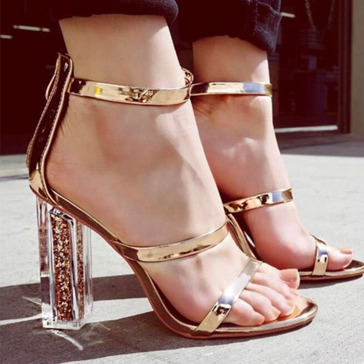 Hot Sale Women Crystal Heels Ankle