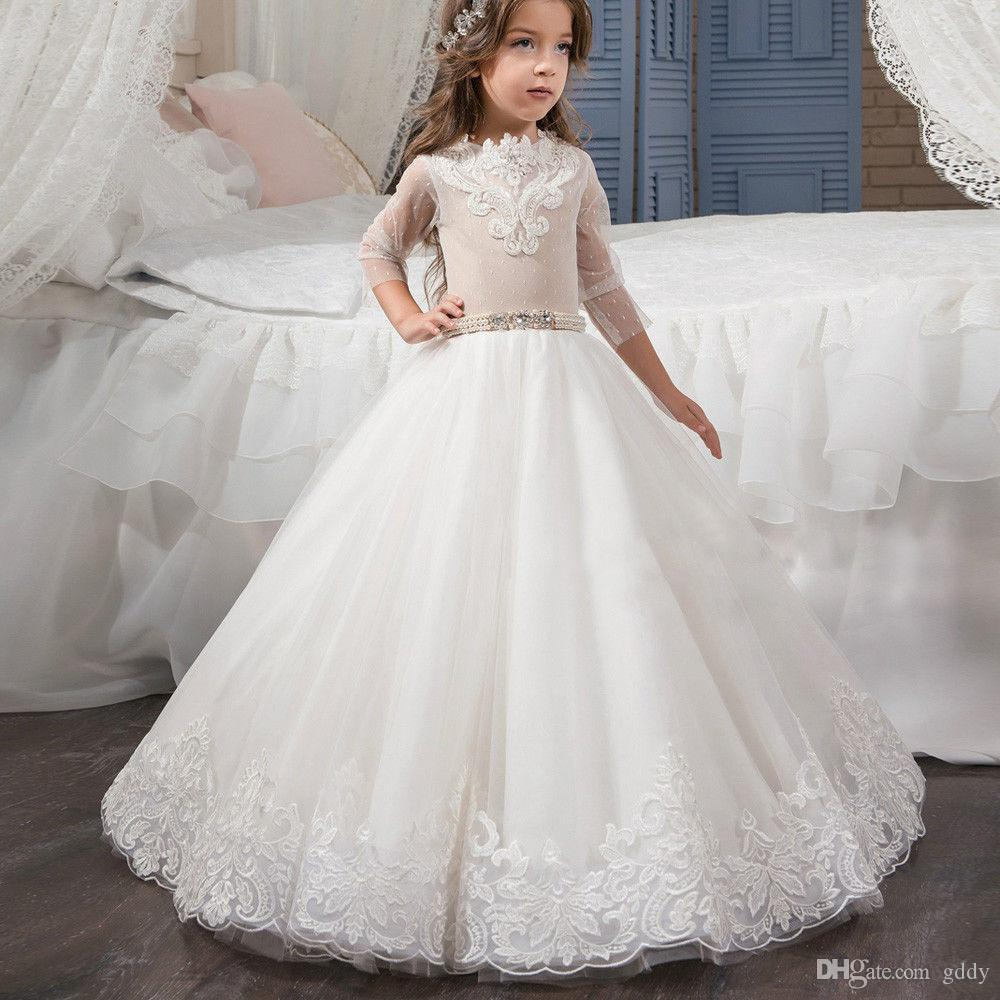 white Ball Gown lace Flower Girl Dresses for wedding pearls wasit jewel neck Glitz Infant Toddler Baby Kids Frock Design