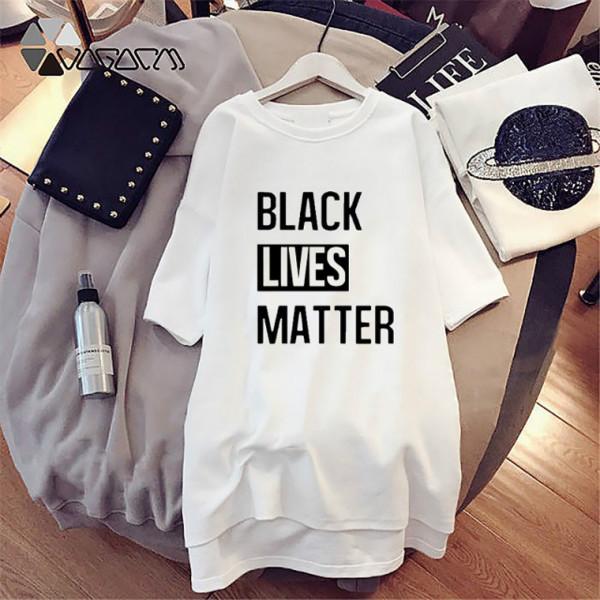 Femmes d'été Imprimer Robes Lettre vie rue Black Matter Robes manches mi-longues Crew Neck Dress pour femmes Vêtements Mode