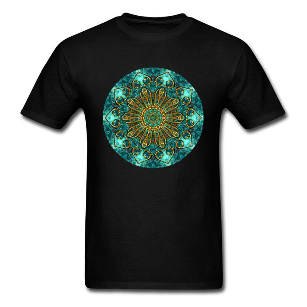 2019 Unique Custom Design Men T-shirt Golden Mandala Print Camisetas de manga corta Camisetas Vintage Classic Chic Camisetas Plus Size