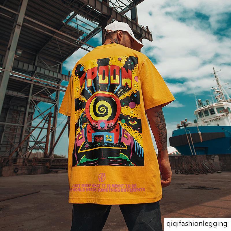 Fashion brand oversize lovers big size fat half sleeve High Street national fashion graffiti printed short sleeve T-shirt men's fashion
