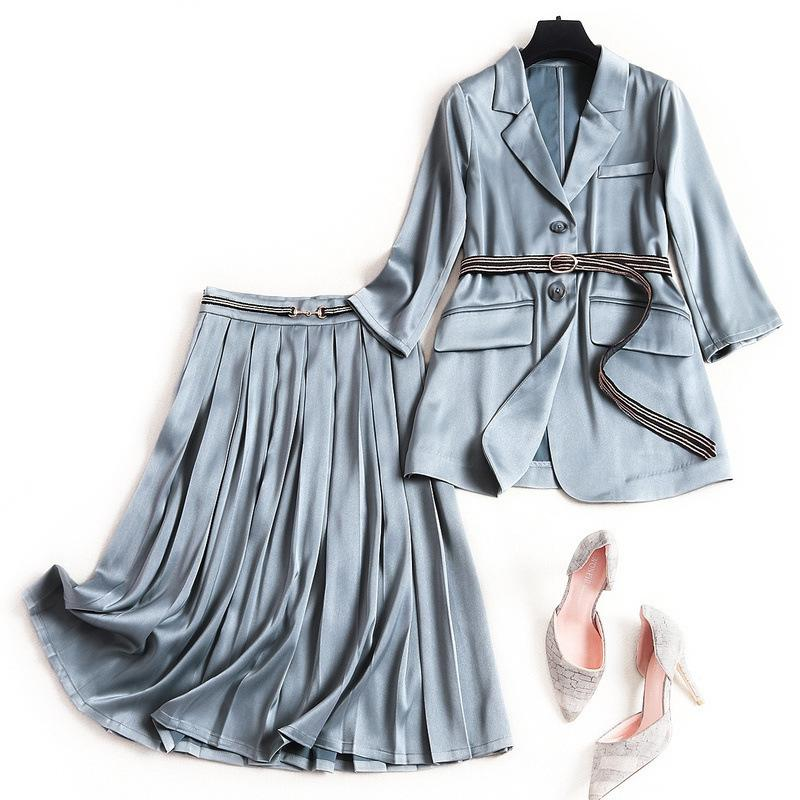 2020 Spring Summer 3/4 Sleeve Notched-Lapel Knitted Waist Belt Blazers + Minimalist Panelled Mid-Calf Skirt Two Piece 2 Pieces Set OM2752597