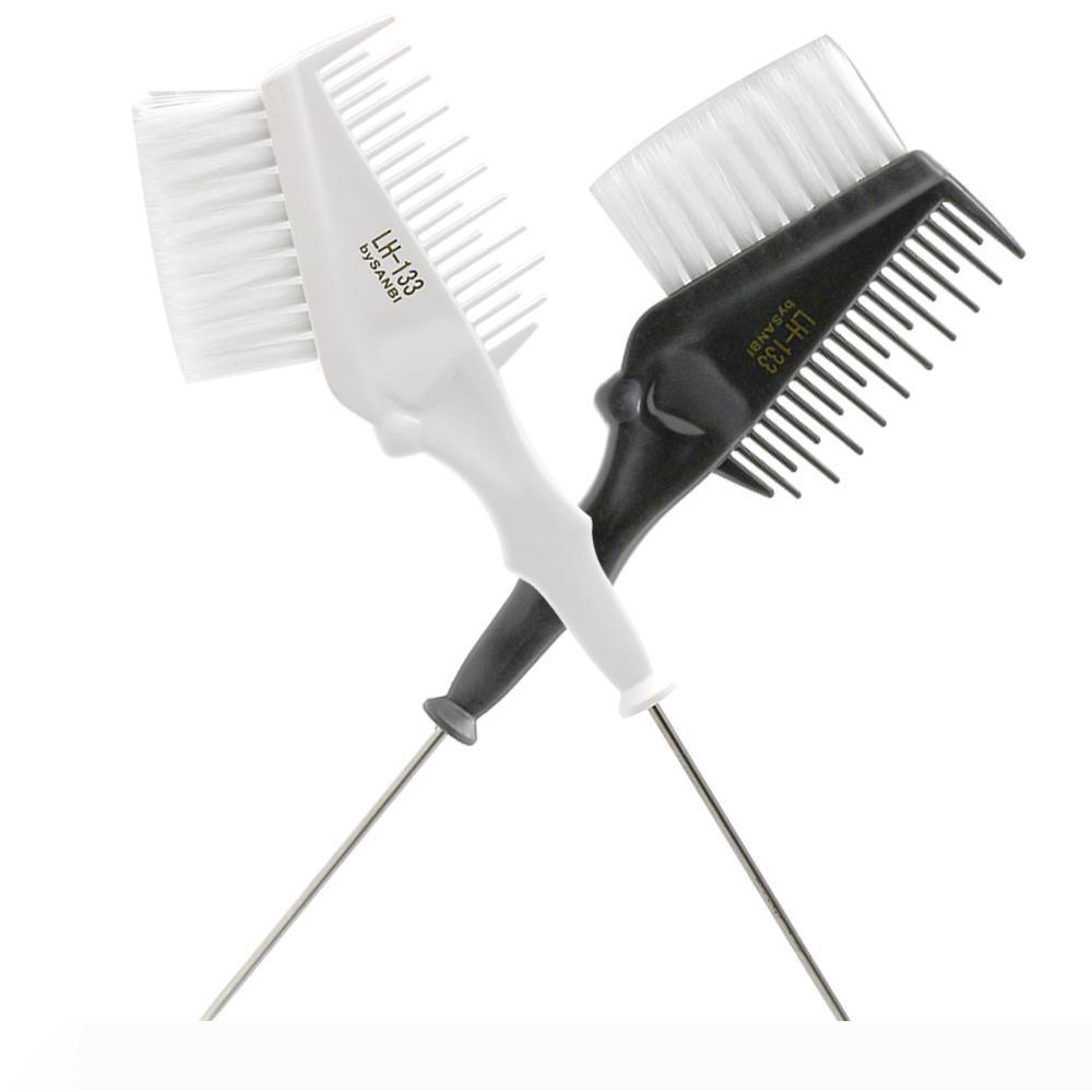Pro 1 Piece Metal Tail Tip Hair Coloring Comb Double Use With Soft Nylon Hair Salon Hair Dye Brush For Hairdressing Styling Tool