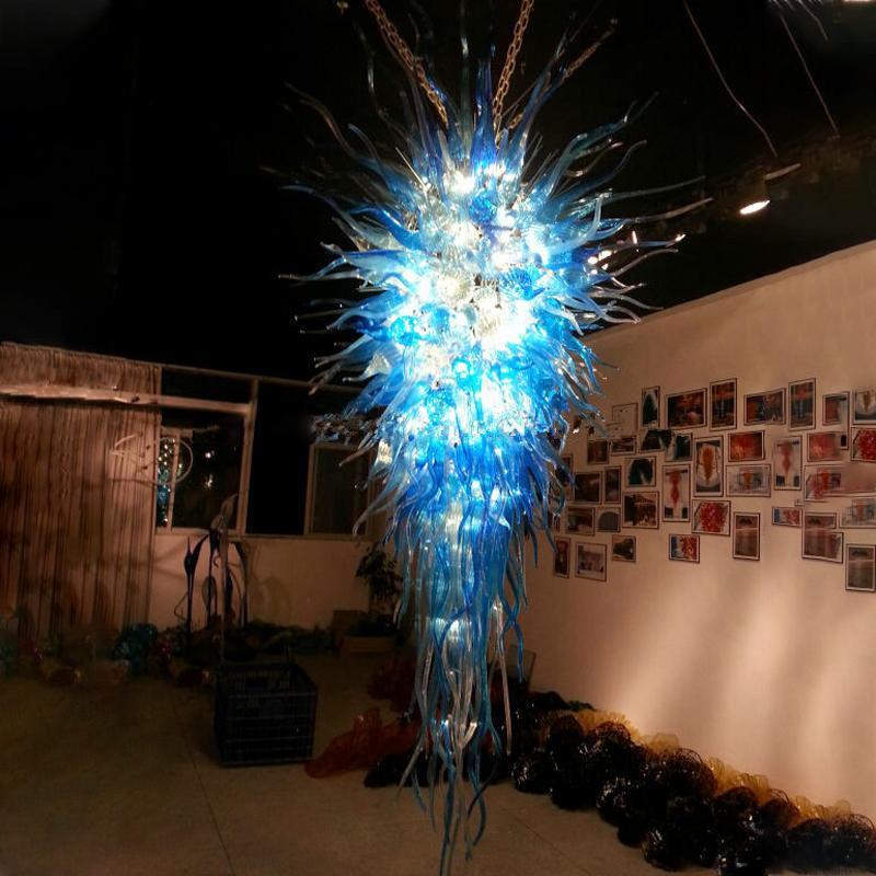 Luxus Kristall Pendelleuchte Lampen Große Home Loft Kronleuchter Beleuchtung Blau LED Murano Glas Wohnzimmer Kronleuchter Hotel Lobby Treppenhaus Dekoration Hängelampe