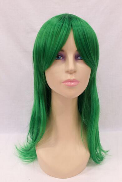 무료 배송 + + 새로운 가발 열 R esistant 코스프레 긴 녹색 스트레이트 여성의 가발